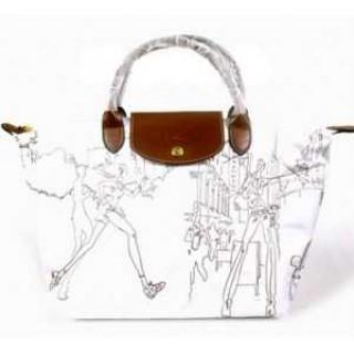 Le Pliage By Boutique Longchamp Paris soldes sortie Sacs A Main Broderie Blanc
