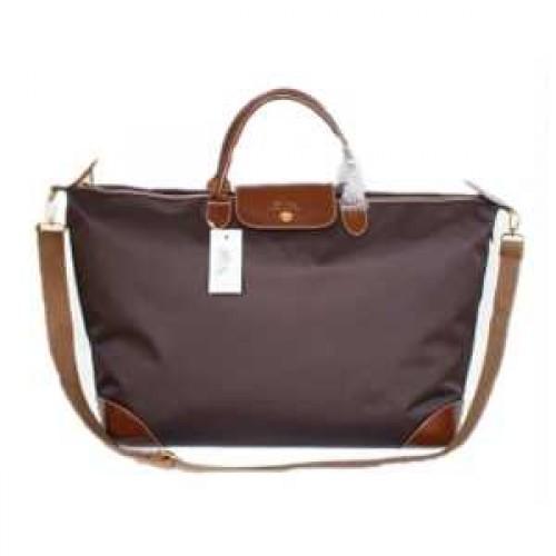 sac de voyage longchamp logo soldes pliage double portable chocolat. Black Bedroom Furniture Sets. Home Design Ideas