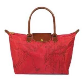 Sacs A Main Longchamp pas cher en lignes Pliage Embroidered Rouge