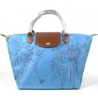 Sacs A Main Magasin Longchamp Paris pas cher en lignes Pliage Broderie Bleu
